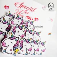 Doodle Unicorn Kartu Ucapan Ulang Tahun Pop Up Card Hadiah Unik