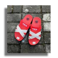 Sandal Pria - Wakai Merah Tali putih