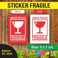 Sticker Fragile / Stiker Awas Barang Pecah Belah Uk. Kecil