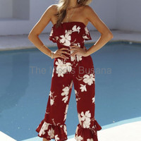 Jumpsuit Red White Maple Modern Fashion Baju Pantai Wanita Masa Kini