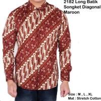 Jual baju batik songket cowok lengan panjang / kemeja kerja batik pria Murah
