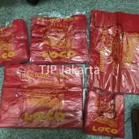 Kantong Plastik Kresek Loco Tebal Merah 500 gram ukuran 17 - 40
