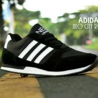 Sepatu Sport Adidas Neo City Racer / Hitam Putih / Kets Casual Joging