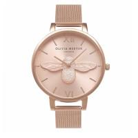 Jam tangan Olivia Bur70n London Bee 3D Rose Gold Tawon