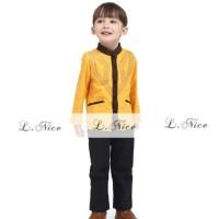 Baju Koko Anak: L Nice 85-06 Koko Yellow Lines (7-12 Tahun)