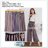 Celana Panjang Kulot Lebar Garis Wanita Bangkok Korea Import AB51146