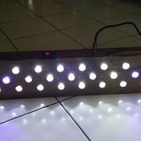 Lampu LED Aquarium 29 mata (27 putih 2 biru) 70×15 cm acrylic hitam