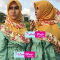 Hijab Jilbab Kerudung Scarf Segi Empat Rempel Bunga STRAIGHT FARFASA