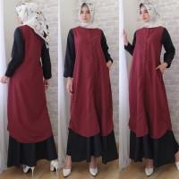 Gamis Wanita Baju Muslimah Lengan Panjang Kombinasi Warna