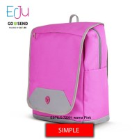 Estilo Tas Ransel Wanita 720001 Laptop Sekolah Kerja Warna Pink