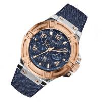 Jam Tangan GUESS W0040G6 Jeans Canvas Biru Rose Gold