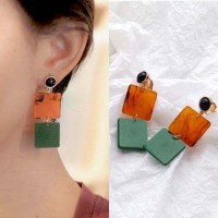 Anting jepit 03084Cr  Geometric Acetate Ear Clip No Needle Retro