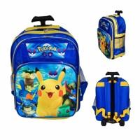 murah Tas sekolah troli anak SD trolley roda dorong ransel Pokemon Go