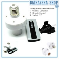 Jual Fitting Lampu dengan Remote / AC 220V E27 Screw Light Lamp Bulb Holder Murah