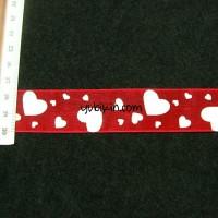 1 Meter Pita Organdi Motif Love 25mm Merah