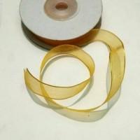 1 Roll Pita Organdi Lis Emas 1/2 Inch Kuning Telur