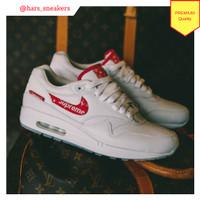 Sepatu Nike Air Max 1 Supreme x Louis Vuitton White Red Premium Qualit