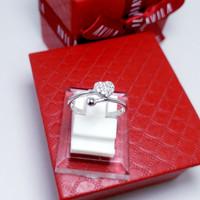 Perhiasan Cincin Silver 925/ Perak Lapis Emas Putih Murah Wanita