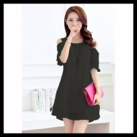 Jfashion Dress Sifon Tangan 3/4 Open Shoulder Gaya Korea - Beauty Stok