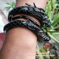 Gelang akar bahar hitam ukir naga lentur 100% asli