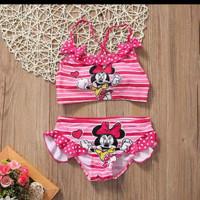 baju renang import minnie mouse printed bikini anak perempuan