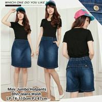 fashion wanita celana rok hotpants midi rok skirt jeans jumbo bigsize