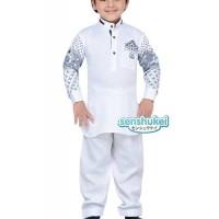 JSL30 White Koko Set Pant Baju Muslim Import Anak Laki Laki Murah