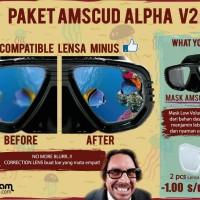 Paket Mask AmscuD Alpha + 2pcs Lensa Minus