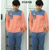 Baju Tidur Pria Piyama Pria Peach Blue Monkey Pocket - STLN708