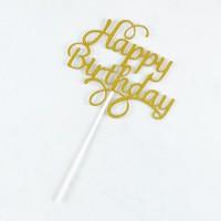 Cake Topper Happy Birthday - Gold