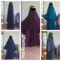 Setelan Muslim Gamis Syari Set Cadar Mat Wolfis Ghumaysho Murah Harga