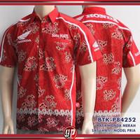 Kemeja Batik Distro Honda Merah Satu HATI - Pria