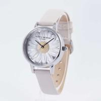 Jam Tangan Olivia Burton London Daisy 3D Bunga Silver Putih Original