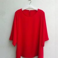 BAJU BLOUSE MUSLIM Blouse Wanita Big Size 2L, 3L, 4L & 5L Warna Merah