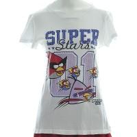 Jual Atasan Lengan Pendek. Kaos. Putih Bergambar. Angry Birds-M Murah
