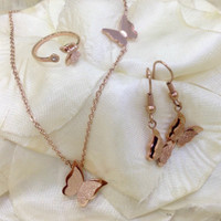 Kalung HM Anting Cincin butterfly fashion premium stainless