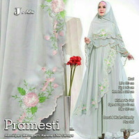 Baju Syari Gamis Pesta Khimar Muslimah Paramesti Set Grey Terbaru
