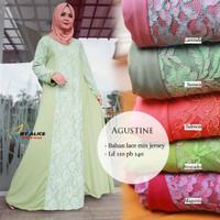Long dress maxi wanita muslim agustine brokat lace mix jersey XXL