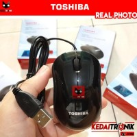 Sale! Optical Mouse Toshiba U20 Blue Led Padless Kaca Usb Black Murah