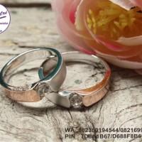 cincin couple emas putih 18k AuPd