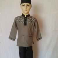 Baju Koko Muslim Setelan Koko Anak Abu Hitam Lengan Panjang SAK 082L T