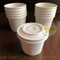 Paper Bowl/Paper Cup/Sup Bowl/Mangkuk Makan 350ml + Tutup Putih