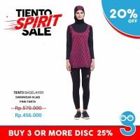 Tiento Black Pink Fanta Swimwear Hijab Wetsuit Baju Pakaian Renang M