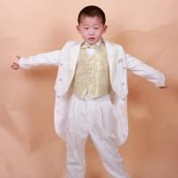 Jas anak laki tuxedo putih   gold , celana, rompi, dasi, ikat pinggang
