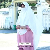 Jilbab Pashmina Instan Syari Warna Putih dengan Free Cadar Murah