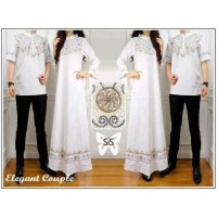 Baju GAMIS TERBARU ST Elegant couple putih / couple muslim / gamis