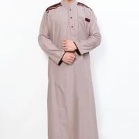 Baju GAMIS TERBARU Jubah Muslim Gamis Pria Cordova Krem List Coklat