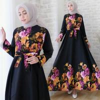 promo maxi vio bunga hitam fashion wanita gamis dres baju pesta muslim