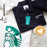 Starbucks Polo Shirt Scafe UV Protection + Drawstring Bag Original