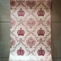 wallpaper stiker uk 45cmx10m kode no 2937 damask mahkota maroon